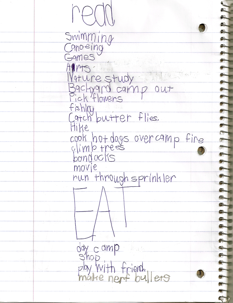 Jake's summer list